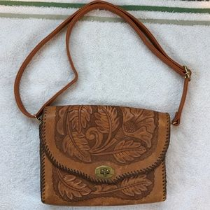 Hand-Tooled Leather Shoulder Bag